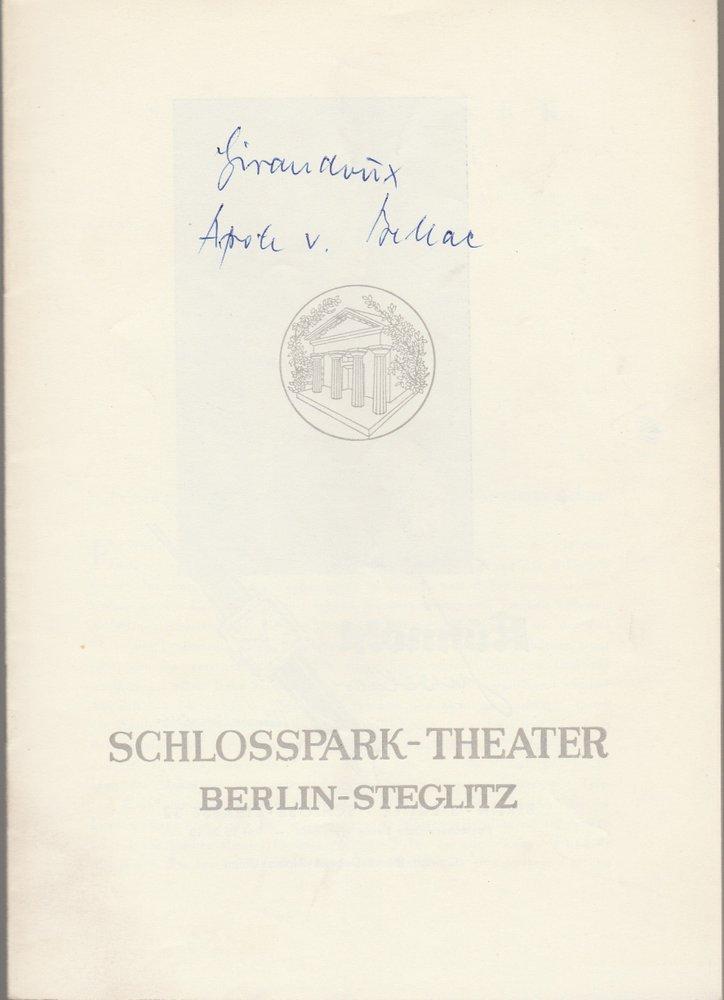 Programmheft J. Giraudoux IMPROMPTU /  APOLLO VON BELLAC  Schlosspark Th. 1959