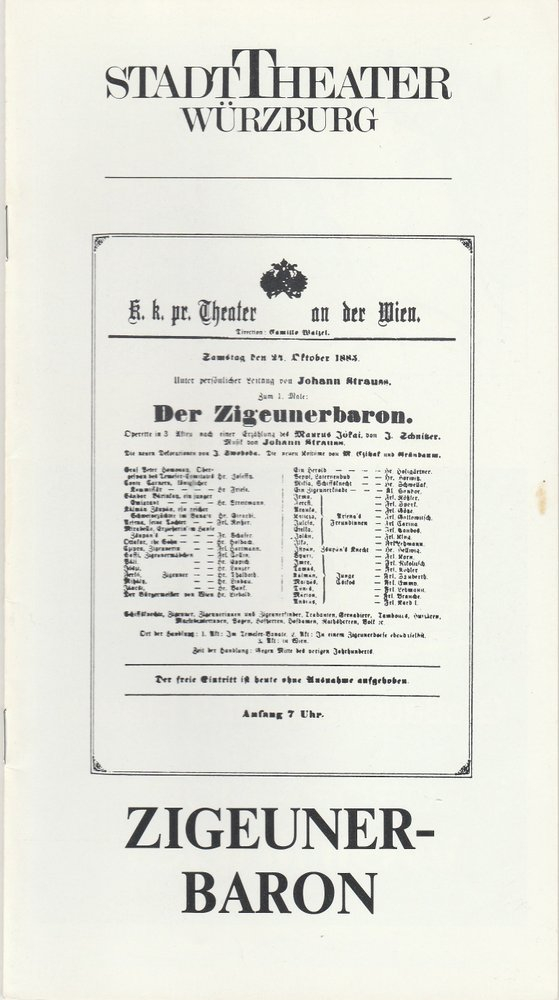 Programmheft Johann Strauß DER ZIGEUNERBARON Stadttheater Würzburg 1987