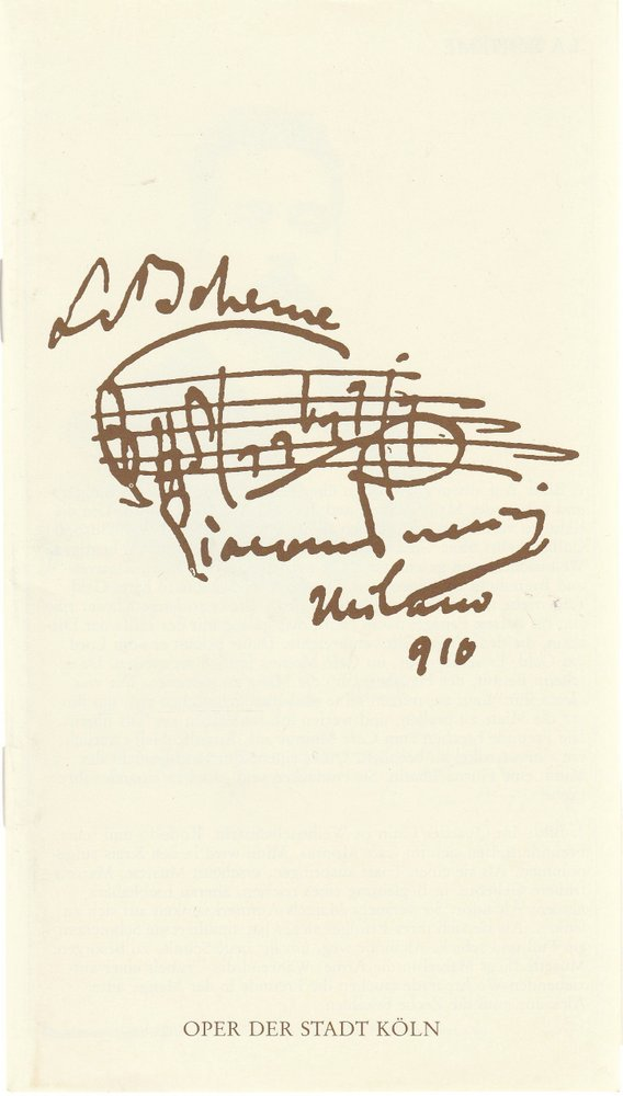 Programmheft Giacomo Puccini LA BOHEME Oper der Stadt Köln 1990