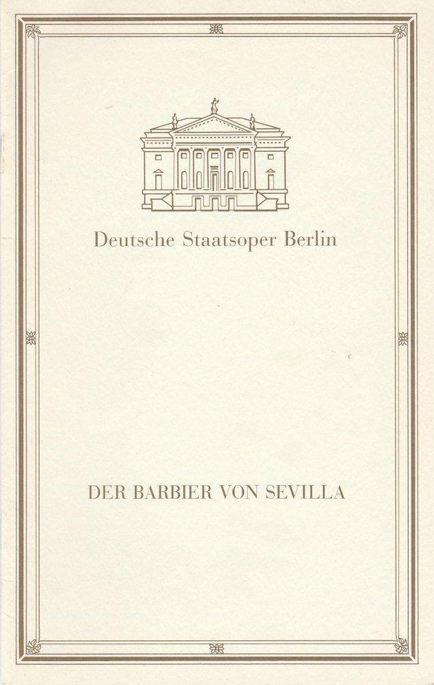 Programmheft Gioacchino Rossini DER BARBIER VON SEVILLA Staatsoper Berlin 1993