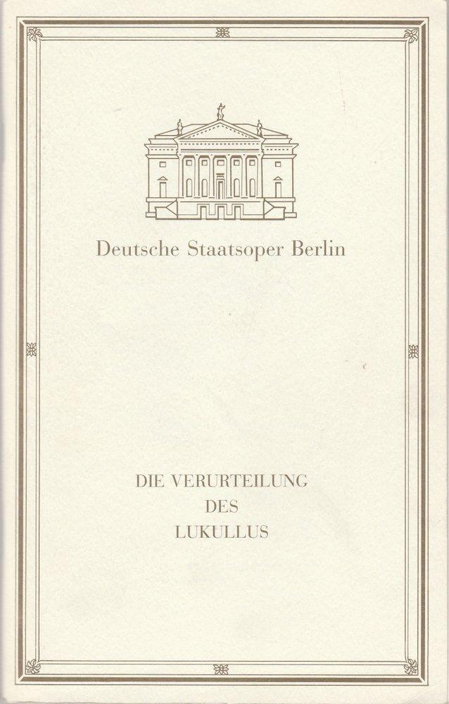 Programmheft Paul Dessau DIE VERUTEILUNG DES LUKULLUS Staatsoper Berlin 1992