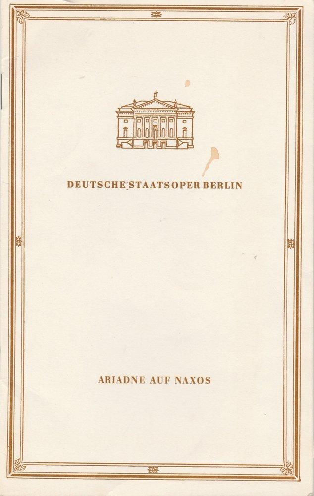Programmheft Richard Strauss ARIADNE AUF NAXOS  Staatsoper Berlin 1989