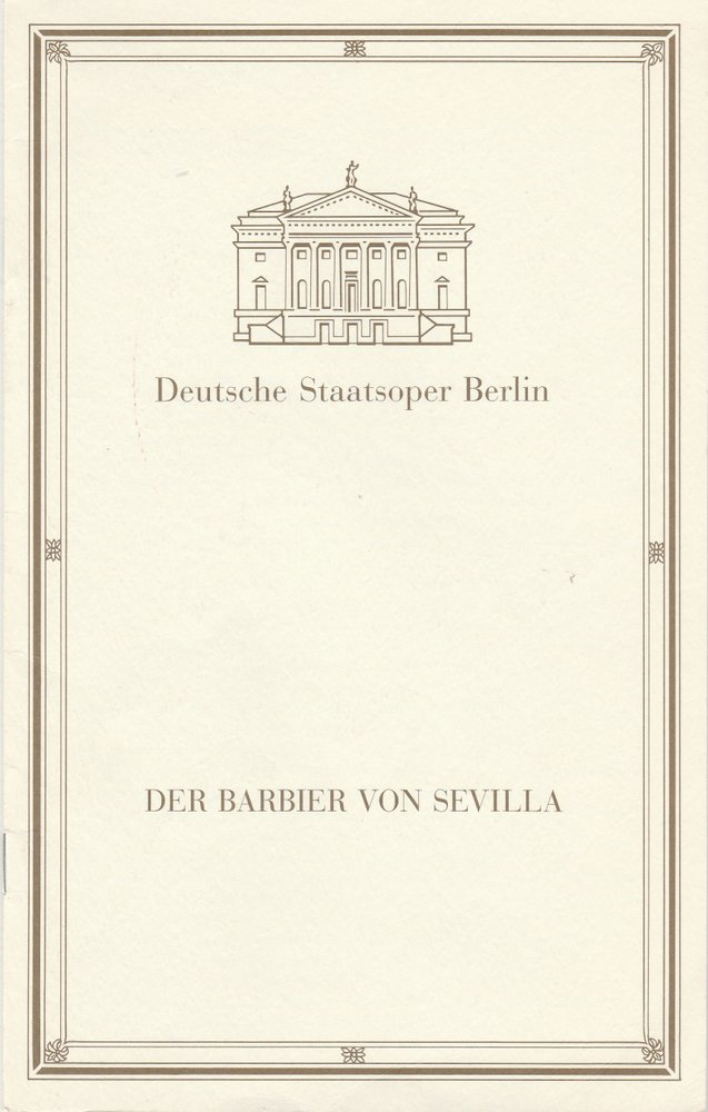 Programmheft Gioacchino Rossini DER BARBIER VON SEVILLA Staatsoper Berlin 1994