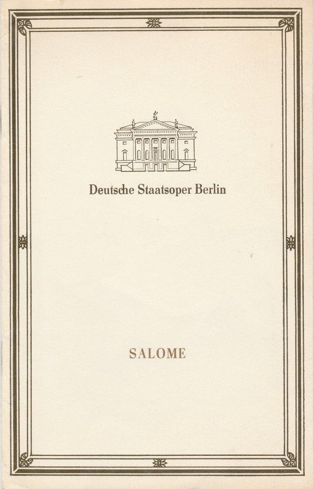 Programmheft Richard Strauss SALOME Deutsche Staatsoper Berlin 1990