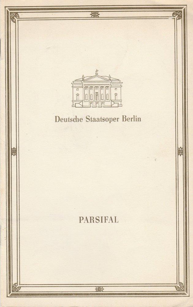 Programmheft Richard Wagner PARZIFAL Deutsche Staatsoper Berlin 1988
