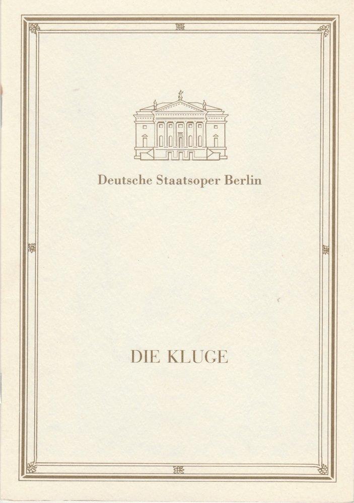 Programmheft Carl Orff DIE KLUGE Deutsche Staatsoper Berlin 1990