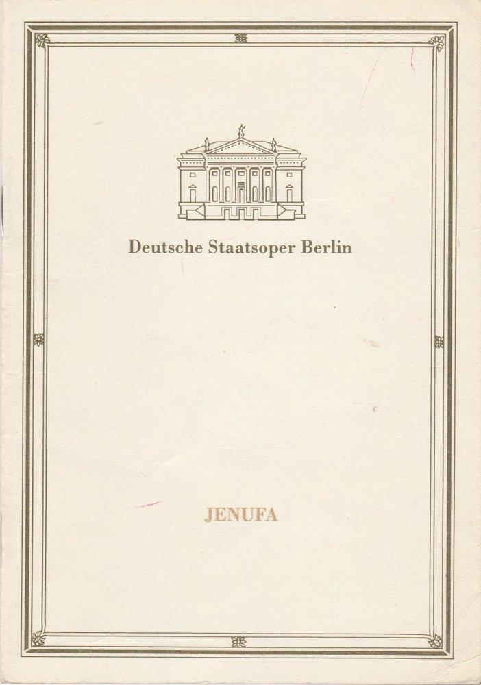 Programmheft Leos Janacek JENUFA Deutsche Staatsoper Berlin 1991