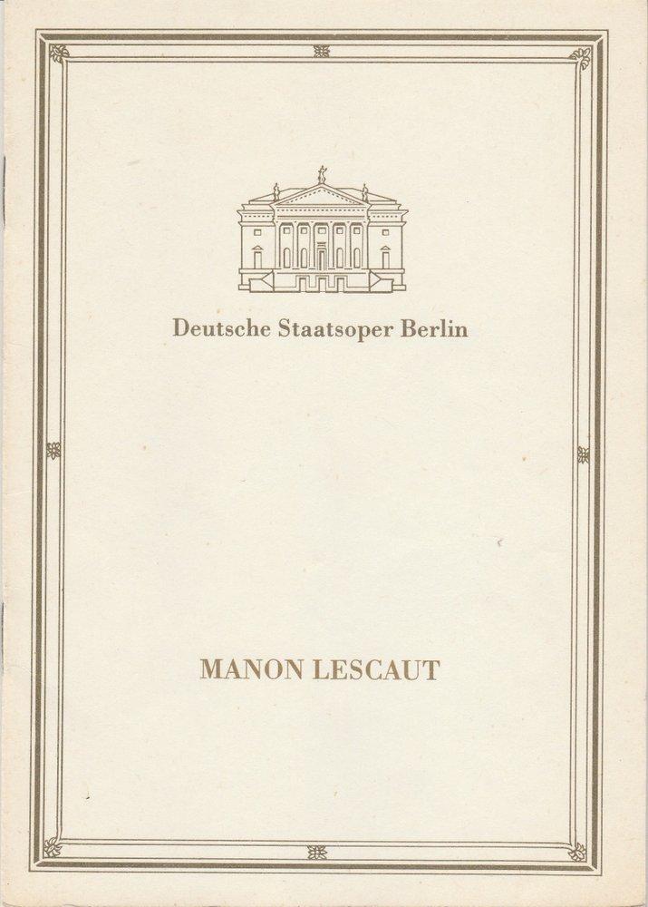 Programmheft Giacomo Puccini MANON LESCAUT Staatsoper Berlin 1988
