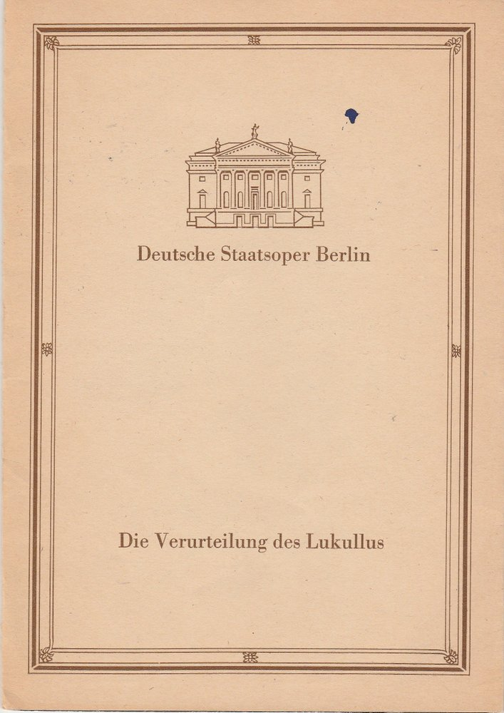 Programmheft Paul Dessau DIE VERUTEILUNG DES LUKULLUS Staatsoper Berlin 1988