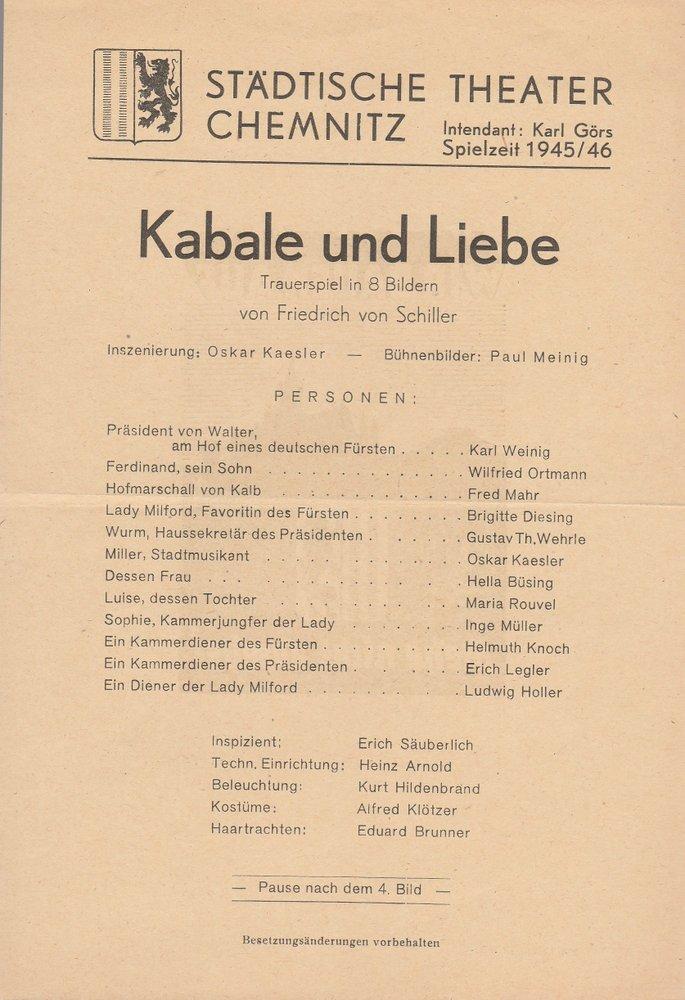 Theaterzettel Friedrich von Schiller KABALE UND LIEBE Theater Chemnitz 1946