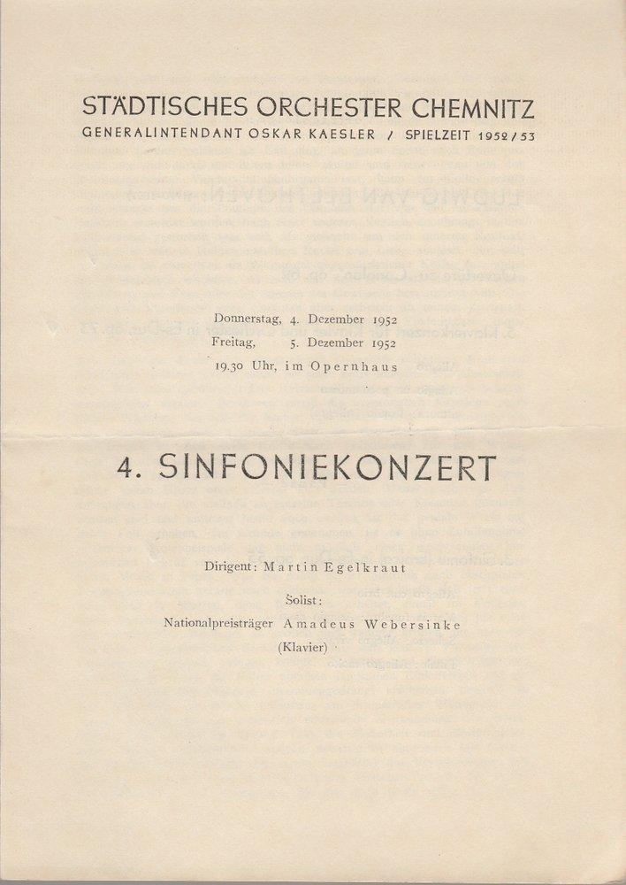 Programmheft 4. SINFONIEKONZERT Städtisches Orchester Chemnitz 1952