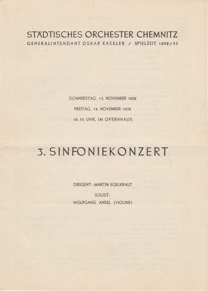 Programmheft 3. S SINFONIEKONZERT Städtisches Orchester Chemnitz 1952