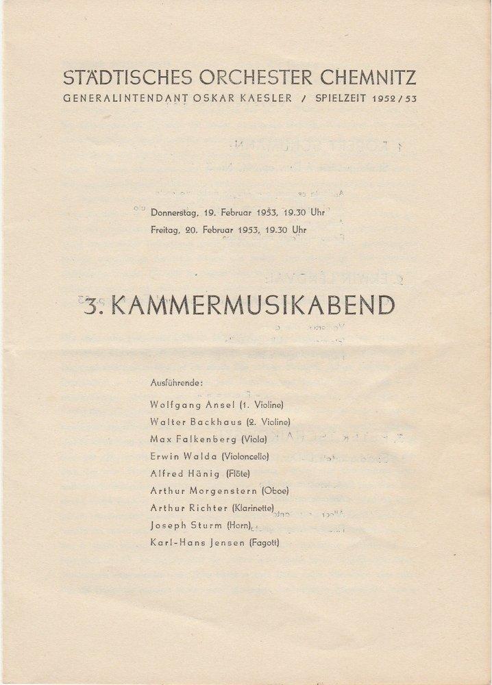 Programmheft 3. KAMMERMUSIKABEND Städtisches Orchester Chemnitz 1953