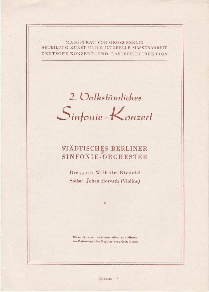 Programmheft STÄDT. BERL. SINFONIE- ORCH. 2. VOLKSTÜML. SINFONIE-KONZERT ca 1953