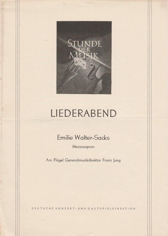 Programmheft Stunde der Musik LIEDERABEND EMILIE WALTER-SACKS ca. 1954