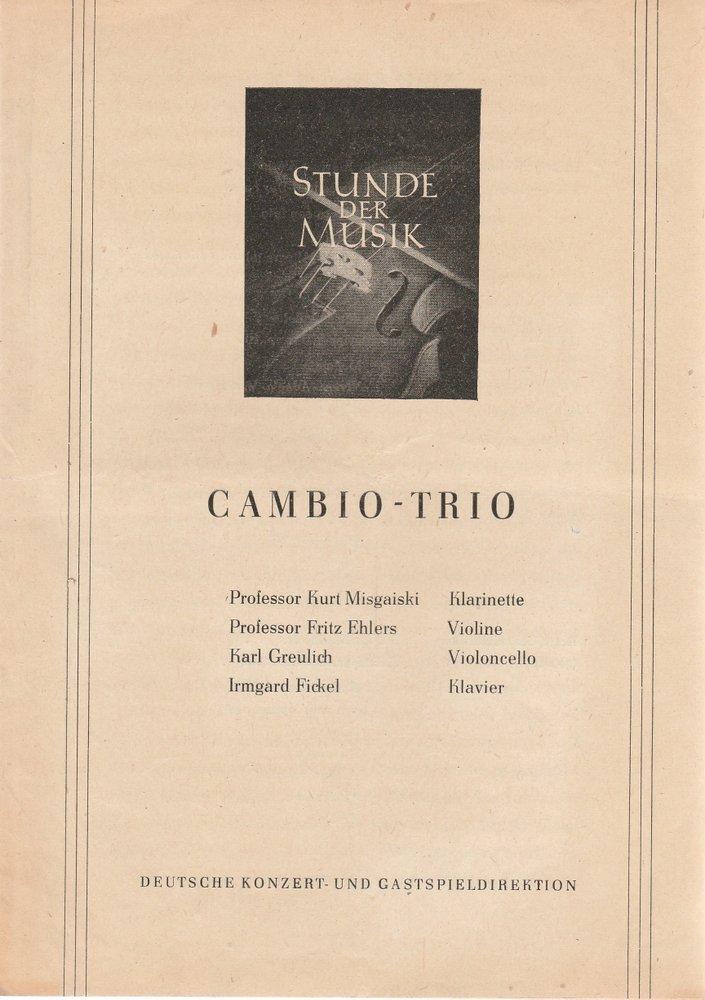 Programmheft Stunde der Musik  CAMBIO-TRIO ca. 1954
