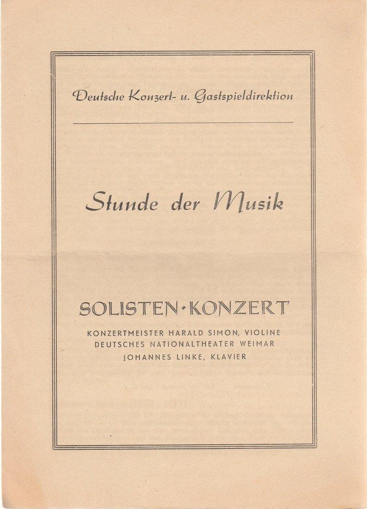Programmheft Stunde der Musik SOLISTEN-KONZERT HARALD SIMON  JOH. LINKE ca. 1953