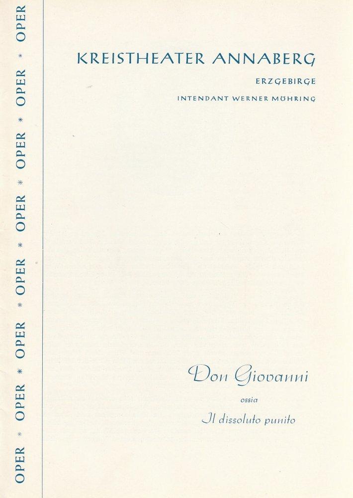 Programmheft Wolfgang Amadeus Mozart DON GIOVANNI Kreistheater Annaberg 1960