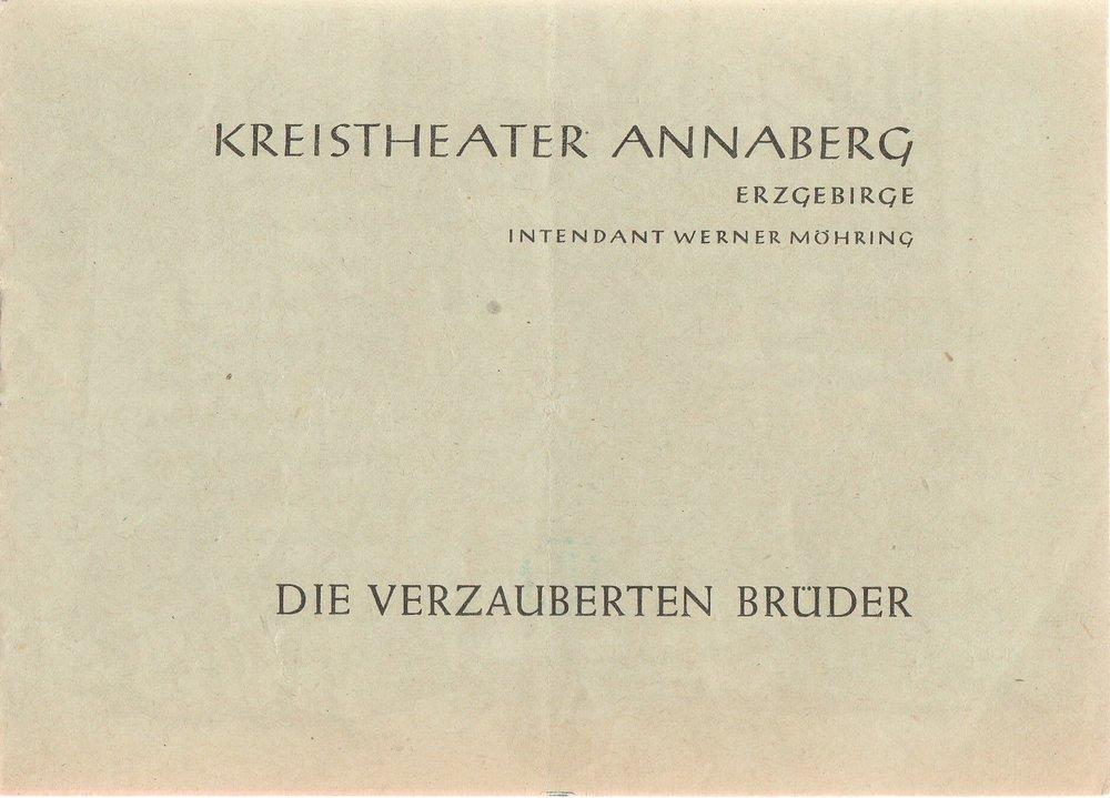 Programmheft Jewgenij Schwarz DIE VERZAUBERTEN BRÜDER Kreistheater Annaberg 1959