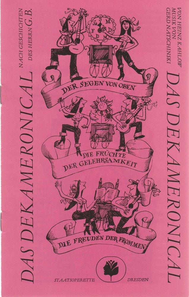 Programmheft Gerd Natschinski DAS DEKAMERONICAL Staatsoperette Dresden 1986