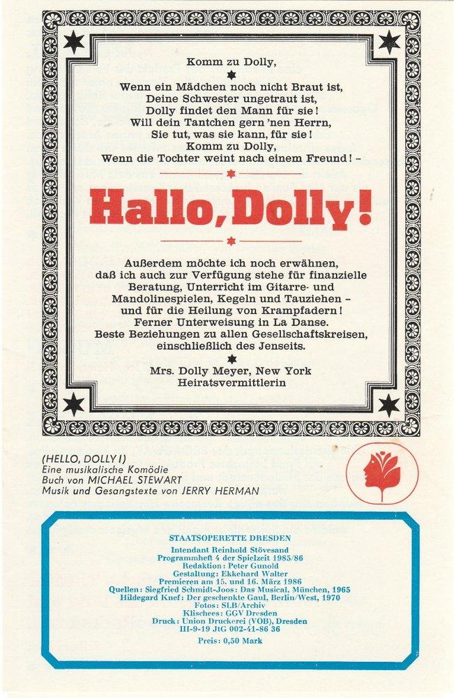 Programmheft Jerry  Herman HALLO DOLLY Staatsoperette Dresden 1986