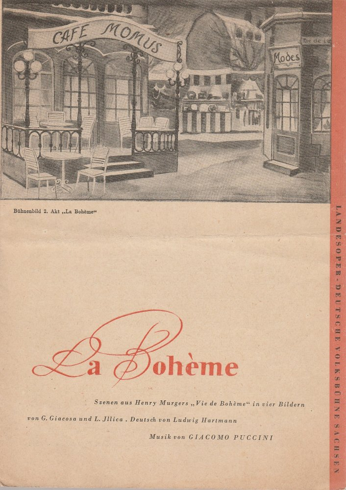 Programmheft Giacomo Puccini LA BOHEME Landesoper Sachsen 1950