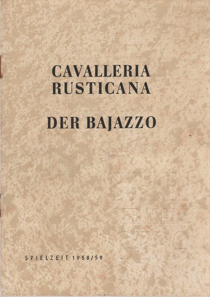 Programmheft Pietro Mascagni CAVALLERIA RUSTICANA Bühnen der Stadt Gera 1958