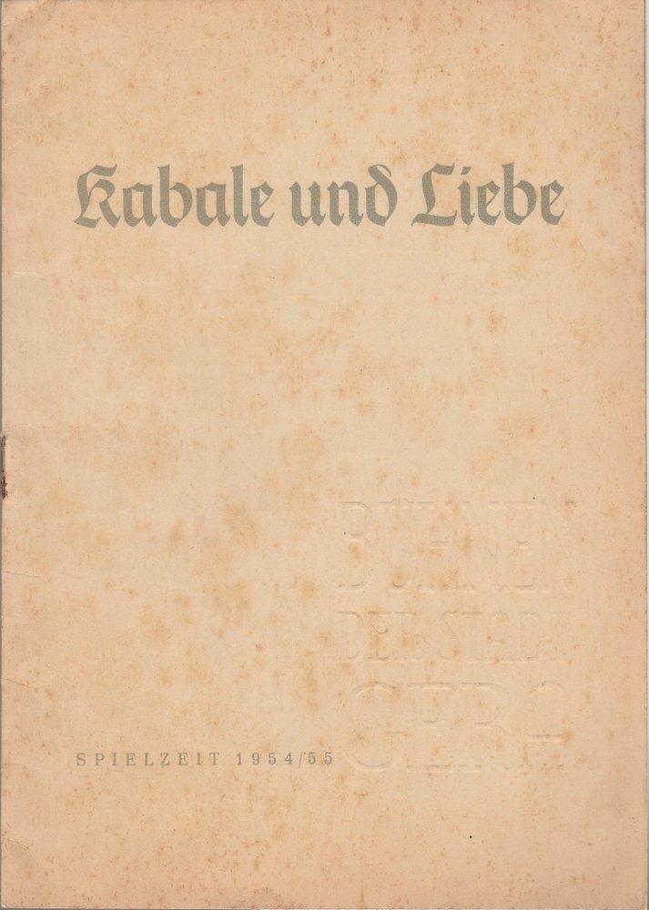 Programmheft Friedrich Schiller KABALE UND LIEBE Bühnen der Stadt Gera 1955
