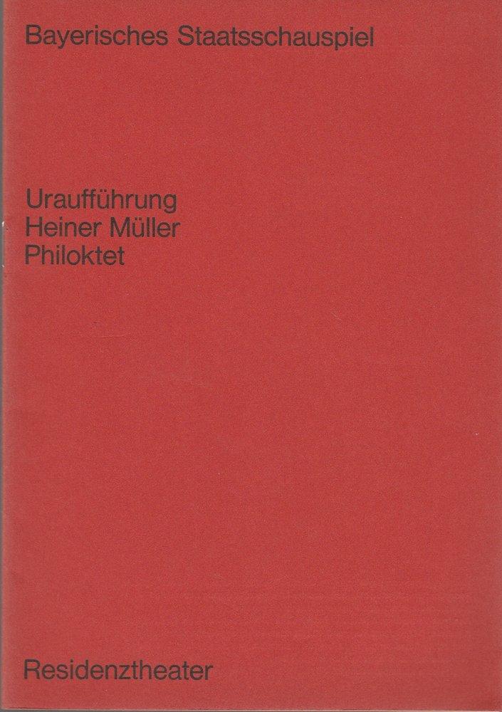 Programmheft Uraufführung PHILOKTET von Heiner Müller Residenztheater 1968