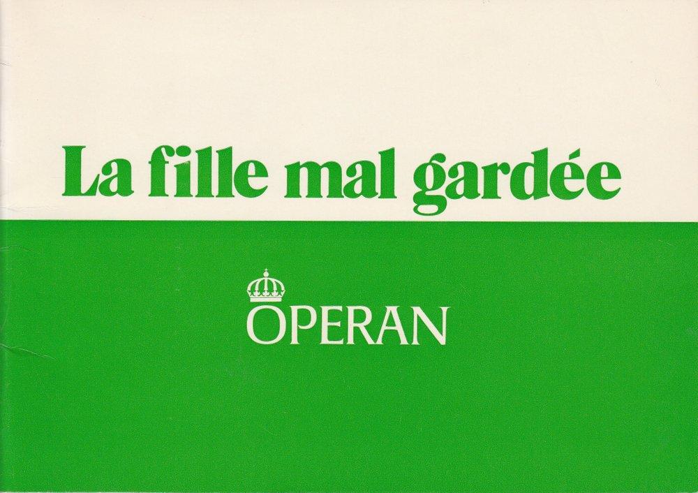 Programmheft Ferdinand Herold La fille mal gardee Kungl Teatern Stockholm 1972