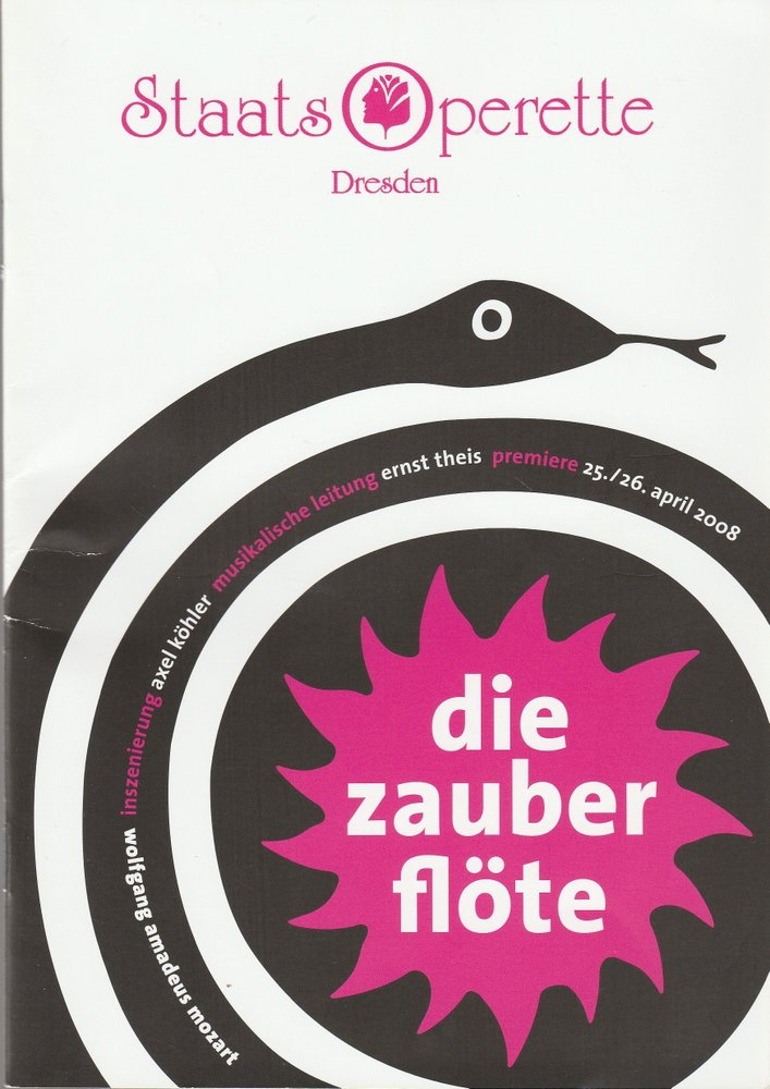 Programmheft Mozart DIE ZAUBERFLÖTE Staatsoperette Dresden 2008