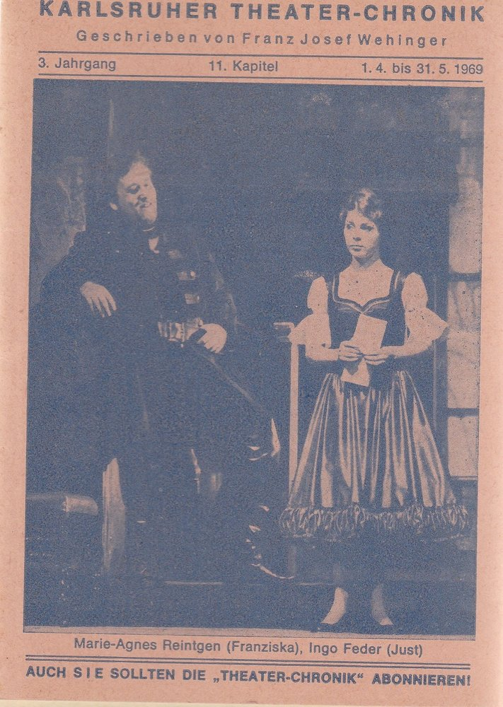 Kleine Karlsruher Theater-Chronik 3. Jahrgang 11. Kapitel 1969