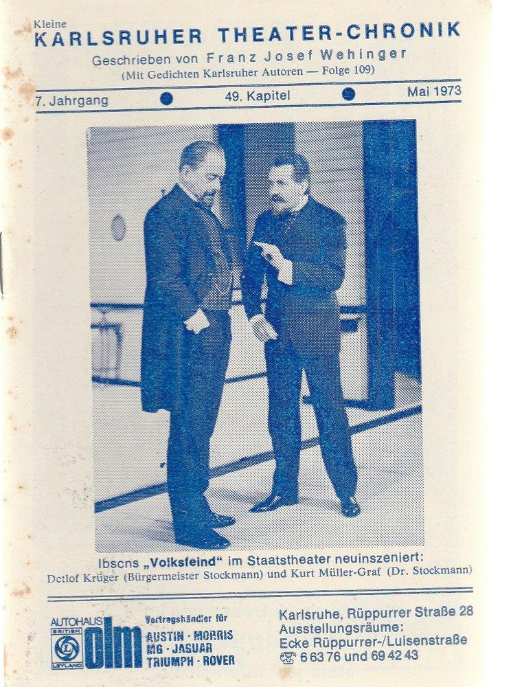 Kleine Karlsruher Theater-Chronik 7. Jahrgang 49. Kapitel 1973