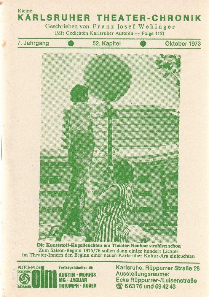 Kleine Karlsruher Theater-Chronik 7. Jahrgang 52. Kapitel 1973