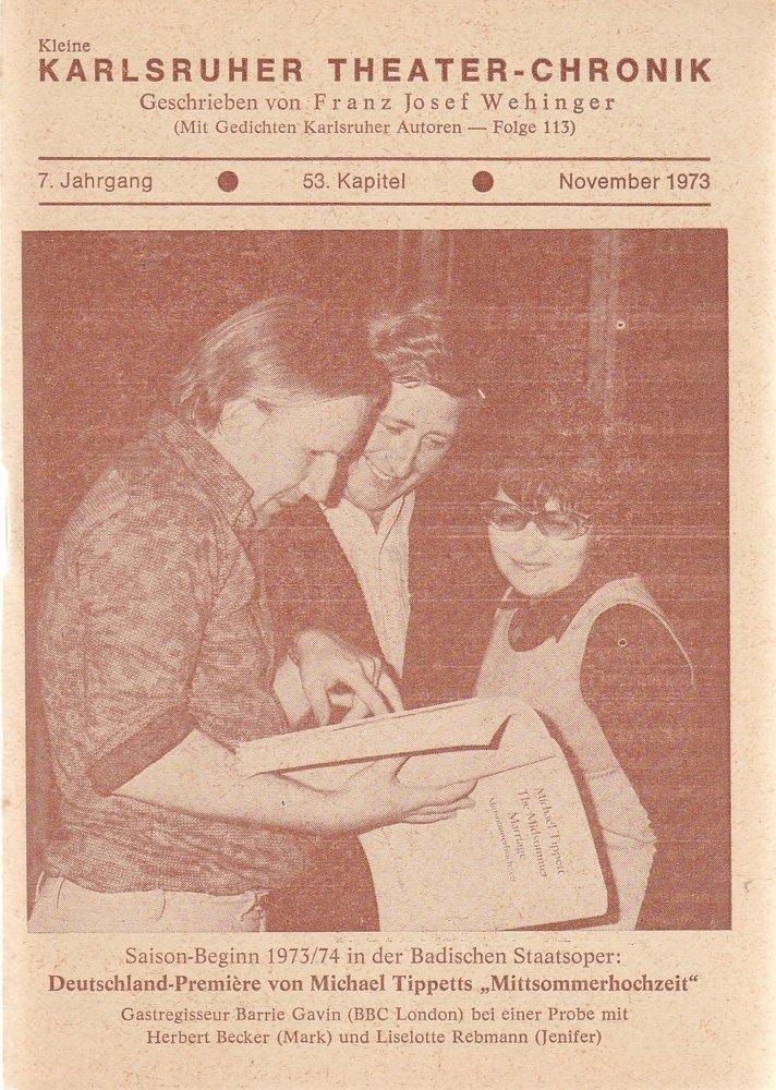 Kleine Karlsruher Theater-Chronik 7. Jahrgang 53. Kapitel 1973