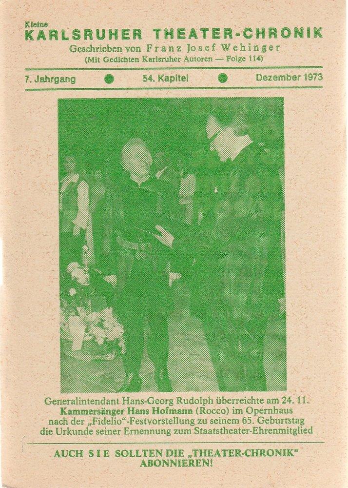 Kleine Karlsruher Theater-Chronik 7. Jahrgang 54. Kapitel 1973
