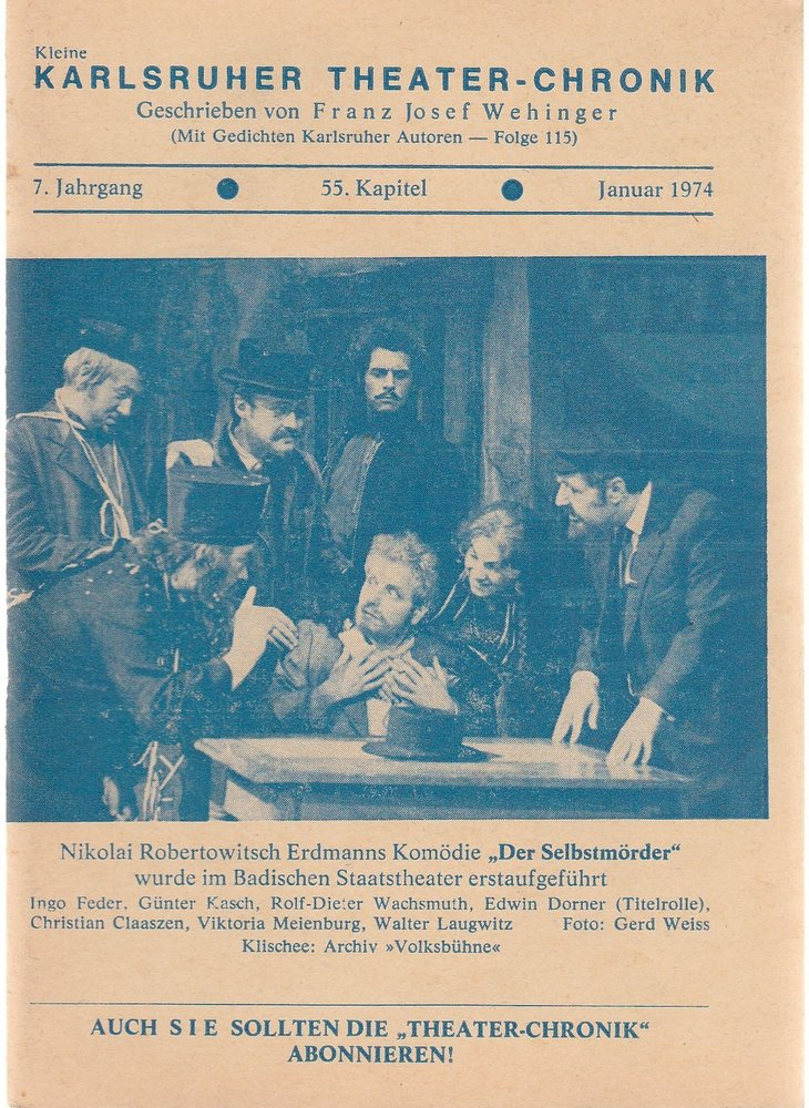 Kleine Karlsruher Theater-Chronik 7. Jahrgang 55. Kapitel 1974