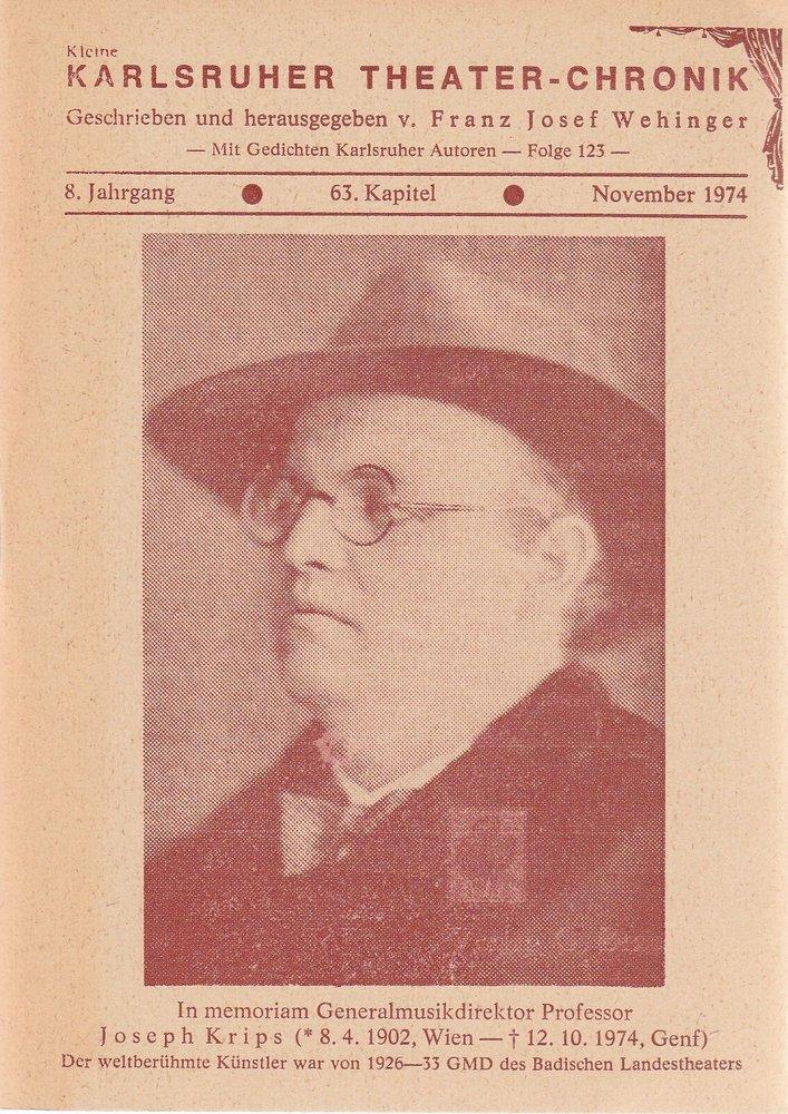 Kleine Karlsruher Theater-Chronik 8. Jahrgang 63. Kapitel November 1974