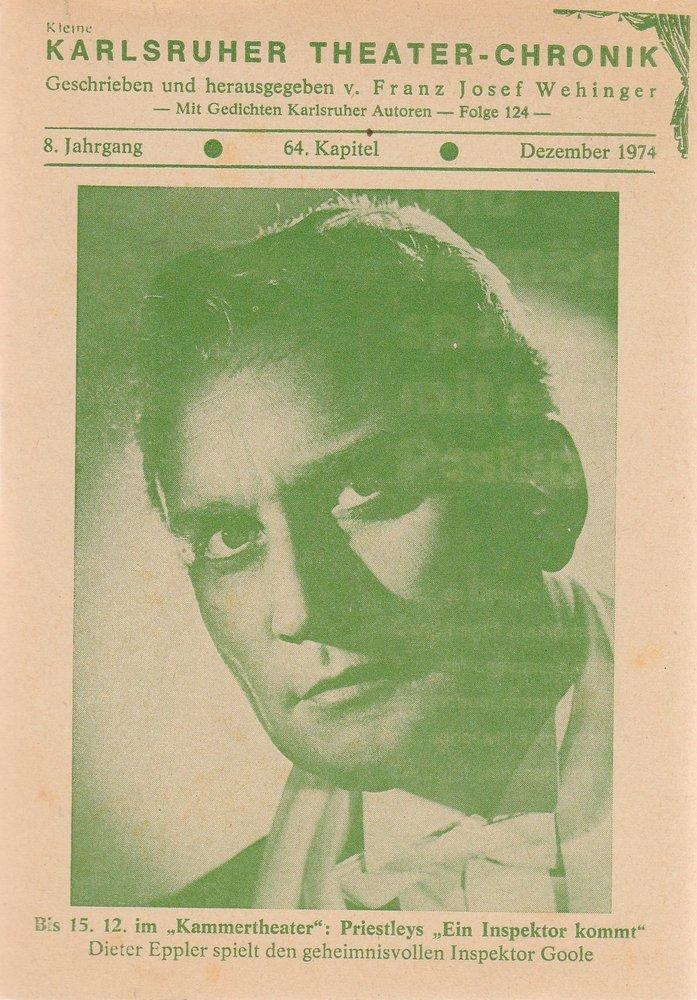 Kleine Karlsruher Theater-Chronik 8. Jahrgang 64. Kapitel Dezember 1974