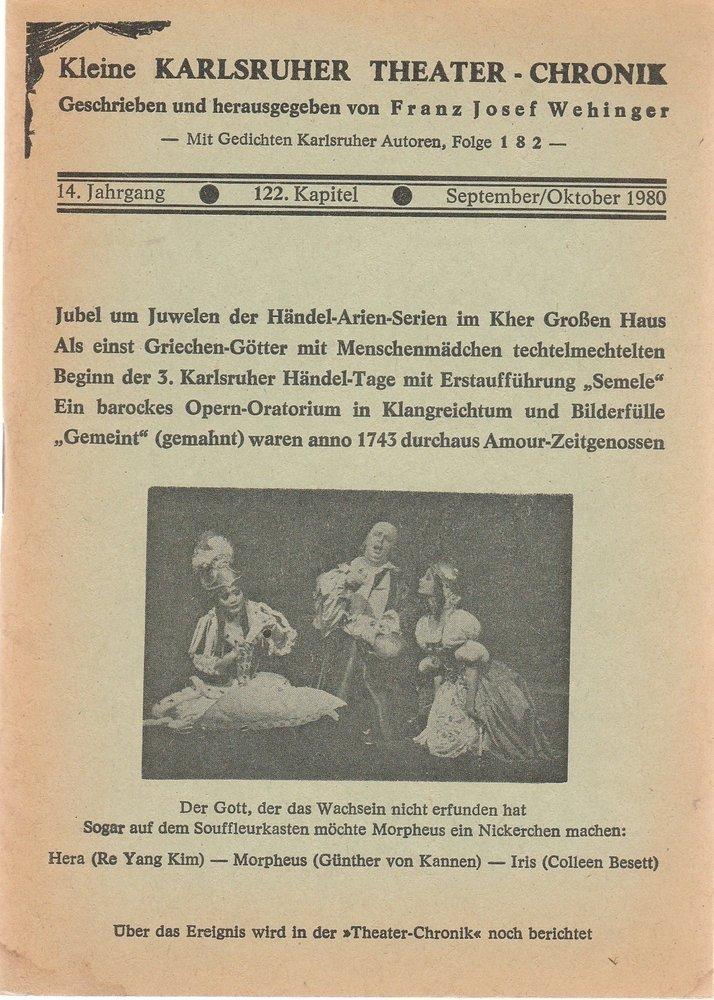 Kleine Karlsruher Theater-Chronik 14. Jahrgang 122. Kapitel 1980