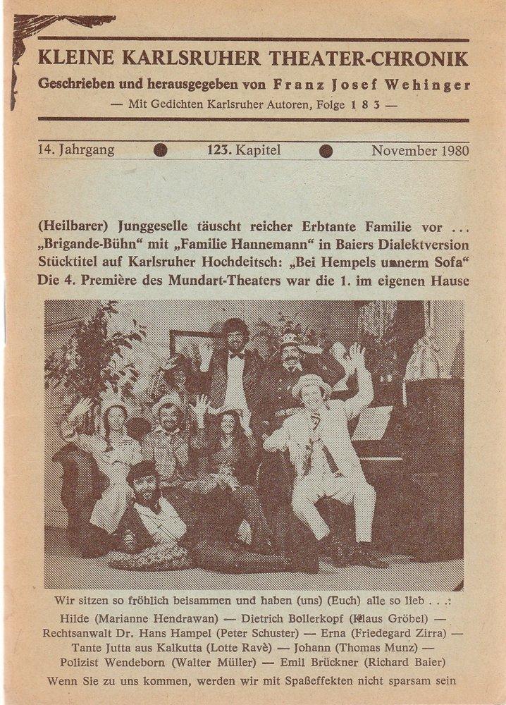 Kleine Karlsruher Theater-Chronik 14. Jahrgang 123. Kapitel November 1980