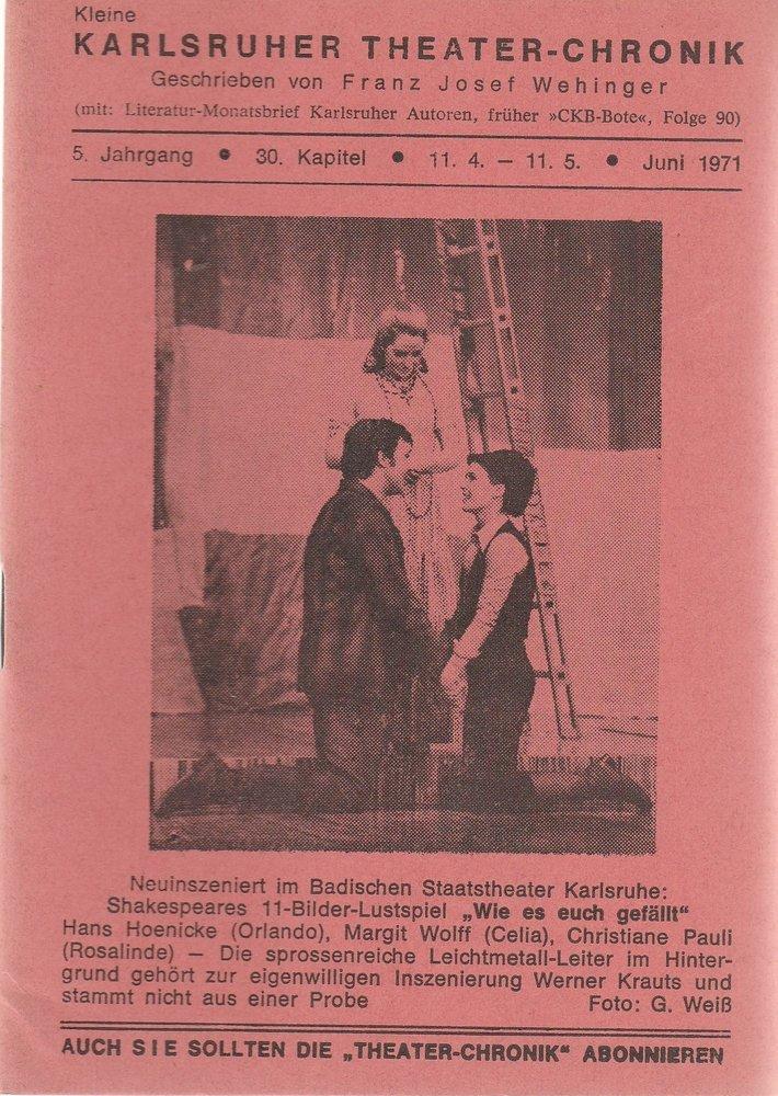 Kleine Karlsruher Theater-Chronik 5. Jahrgang 30. Kapitel 1971