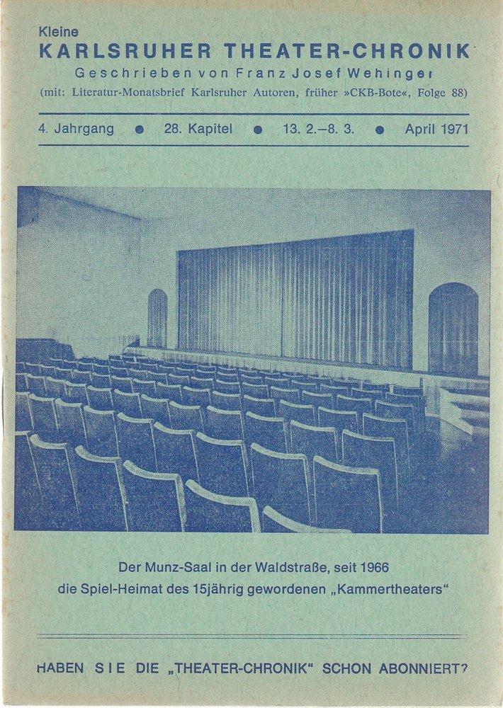 Kleine Karlsruher Theater-Chronik 4. Jahrgang 28. Kapitel 1971