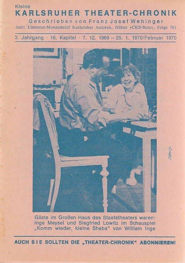 Kleine Karlsruher Theater-Chronik 3. Jahrgang 16. Kapitel 1970