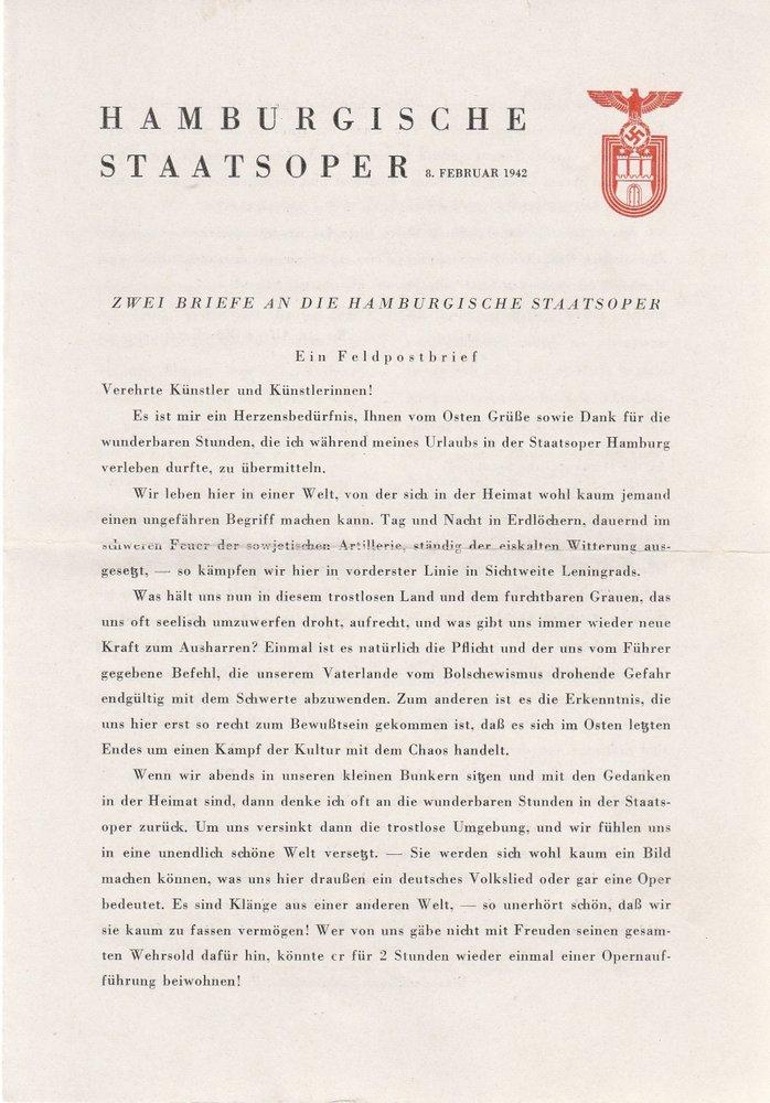 Programmheft FIDELIO Ludwig van Beethoven Hamburgische Staatsoper 1942