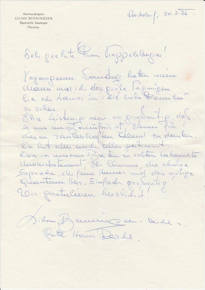 Handgeschriebener Brief Lilian Benningsen an Ruth Kappelsberger 1976