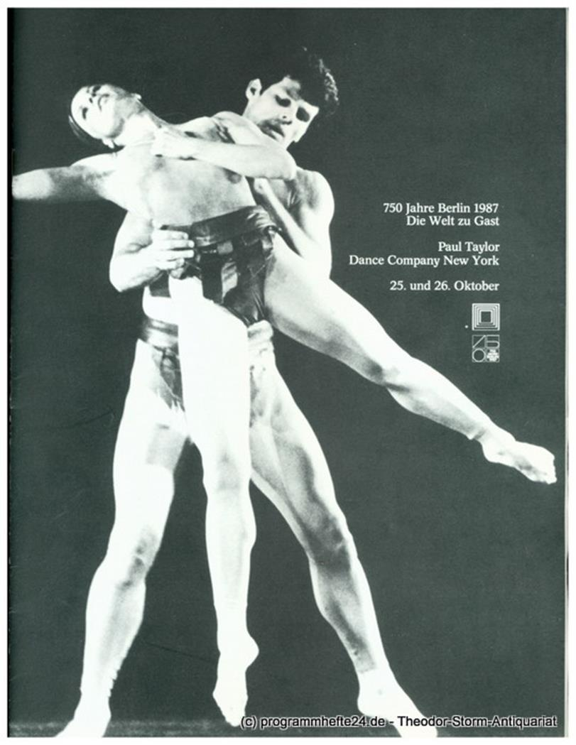 Programmheft Paul Taylor Dance Company New York 25. und 26. Oktober 1987. 750 Ja