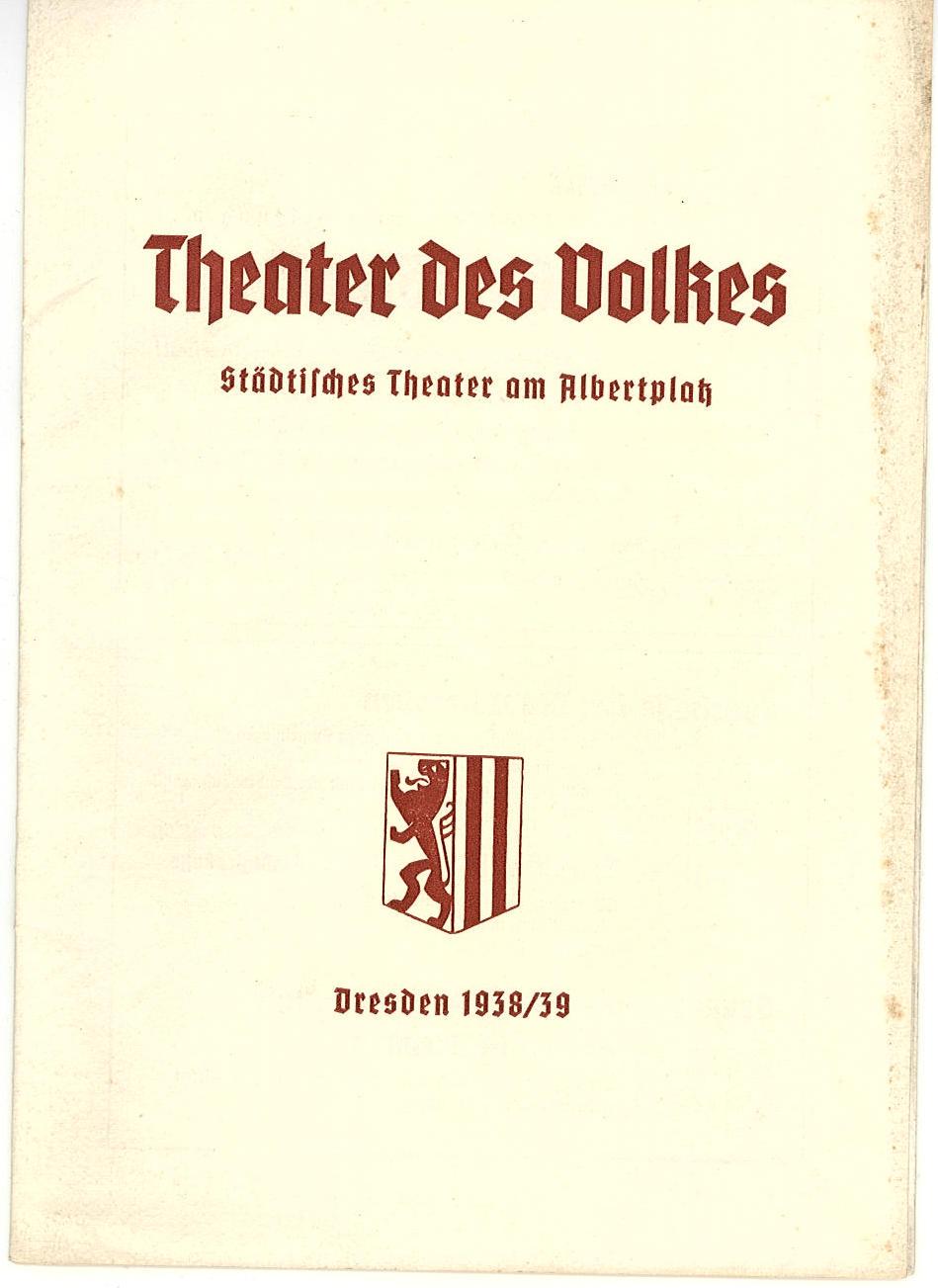 Programmheft Hofball in Schönbrunn. Theater am Albertplatz, Dresden 1938