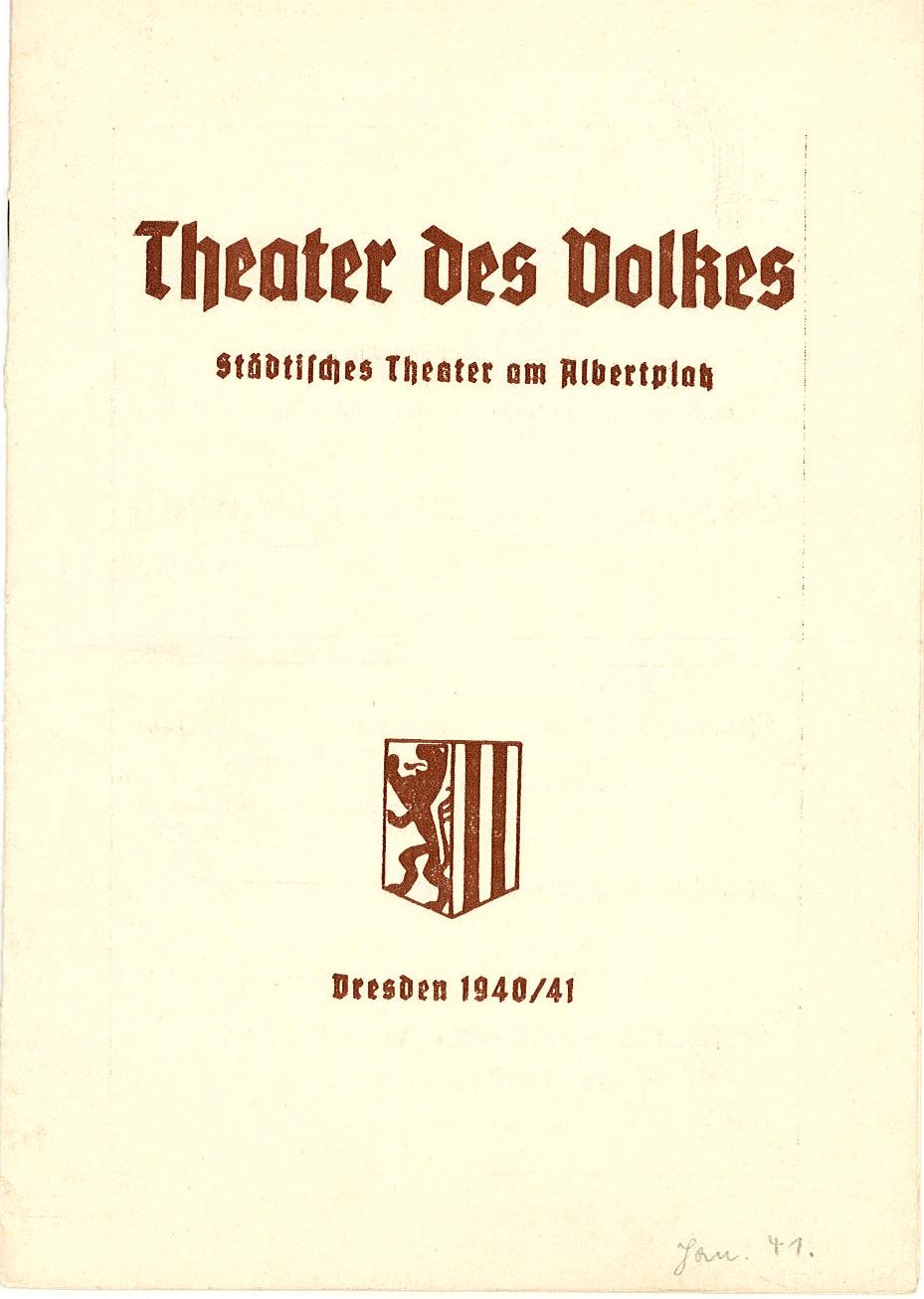 Programmheft Die lustige Witwe. Theater am Albertplatz, Dresden, 1941