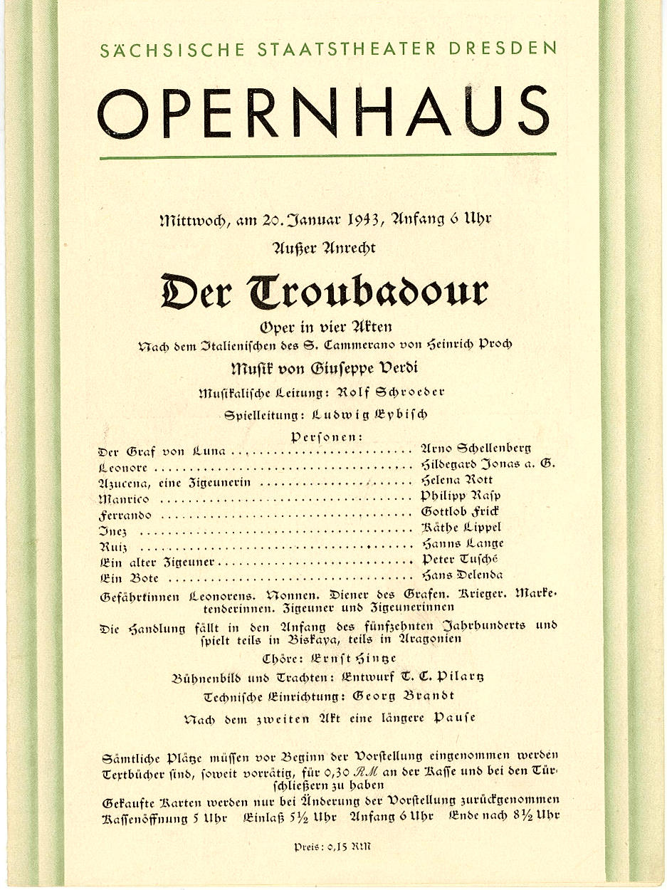 Programmheft Der Troubadour. Opernhaus Dresden 1943